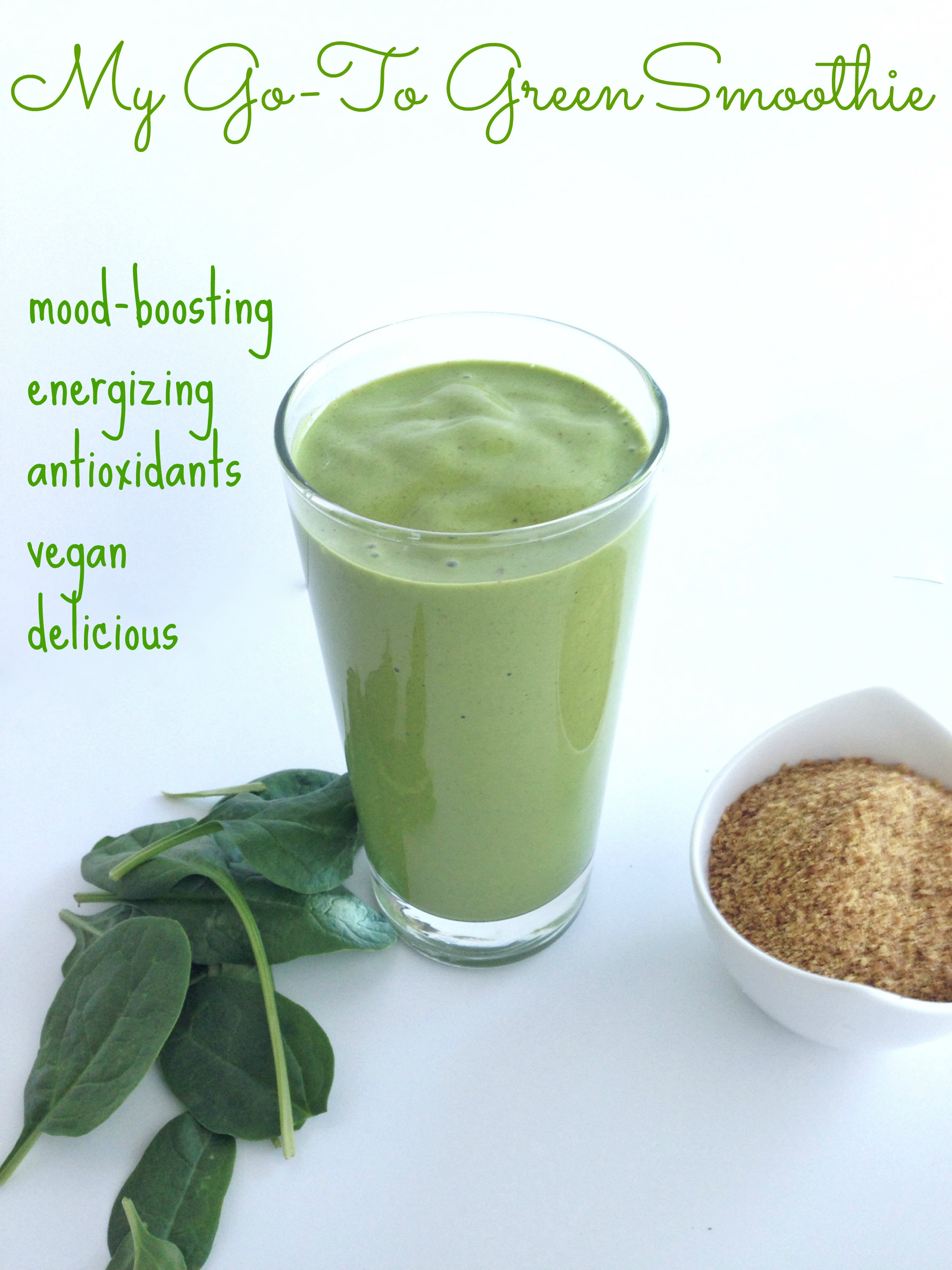 energizing mood-boosting green smoothie with maca flaxseed spinach banana and peanut butter