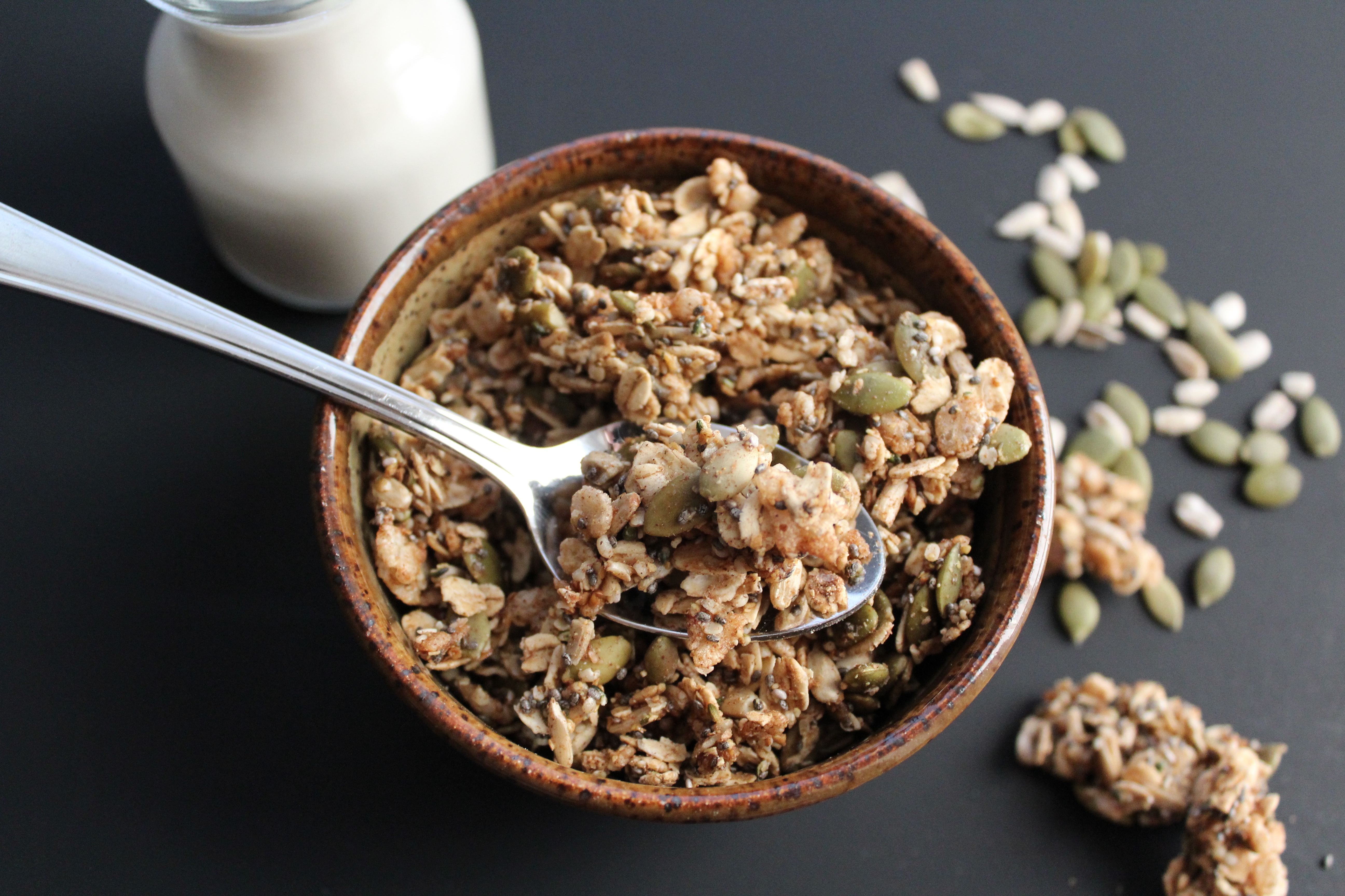 So many health benefits in this Chunky Super Seed Granola! Nut free! YUM!