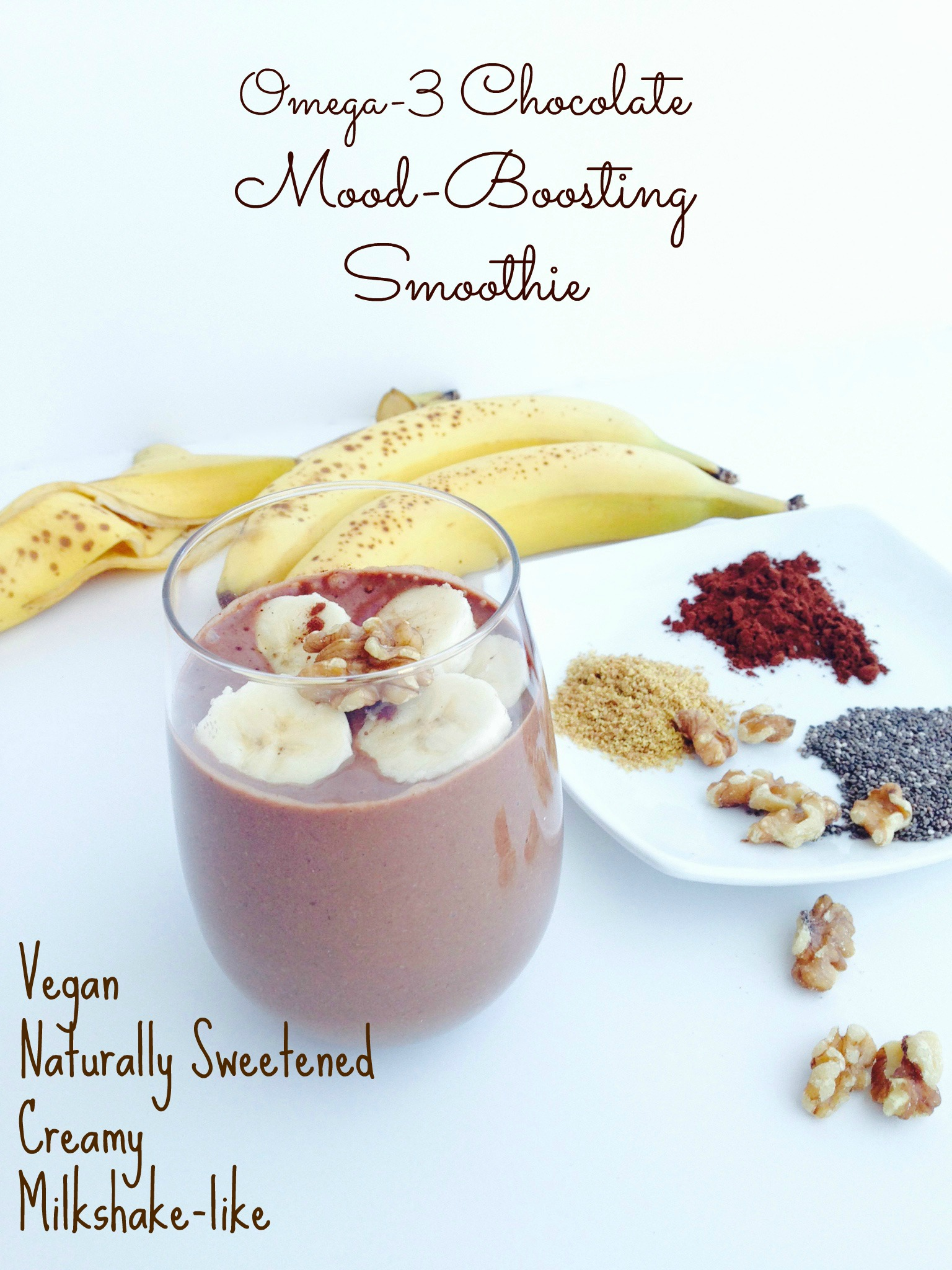 omega-3 chocolate mood-boosting smoothie with bananas cocoa walnuts flax chia
