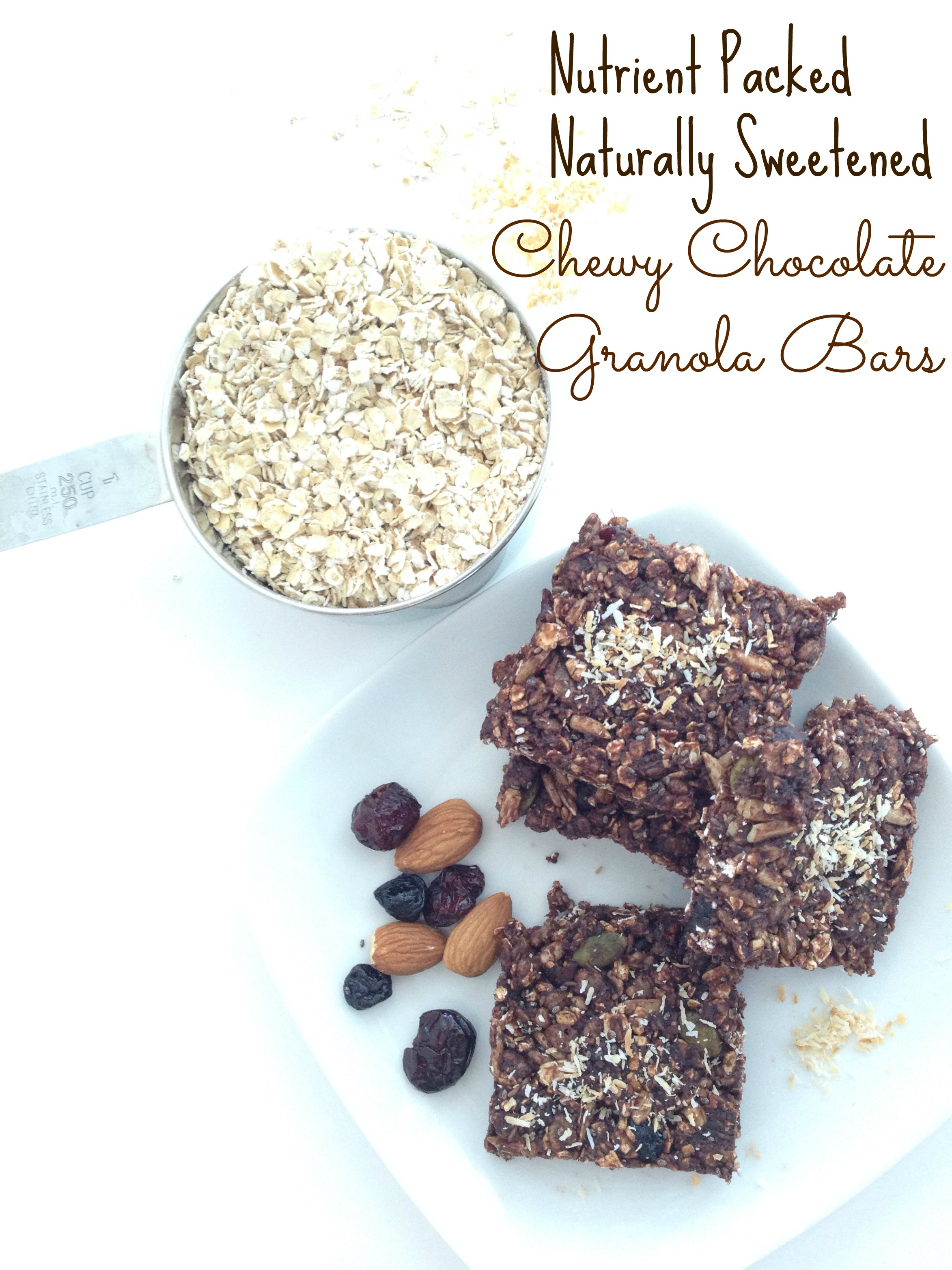 chewy brownie-like chocolate granola bars with toasted coconut and pumpkin sunflower and chia seeds