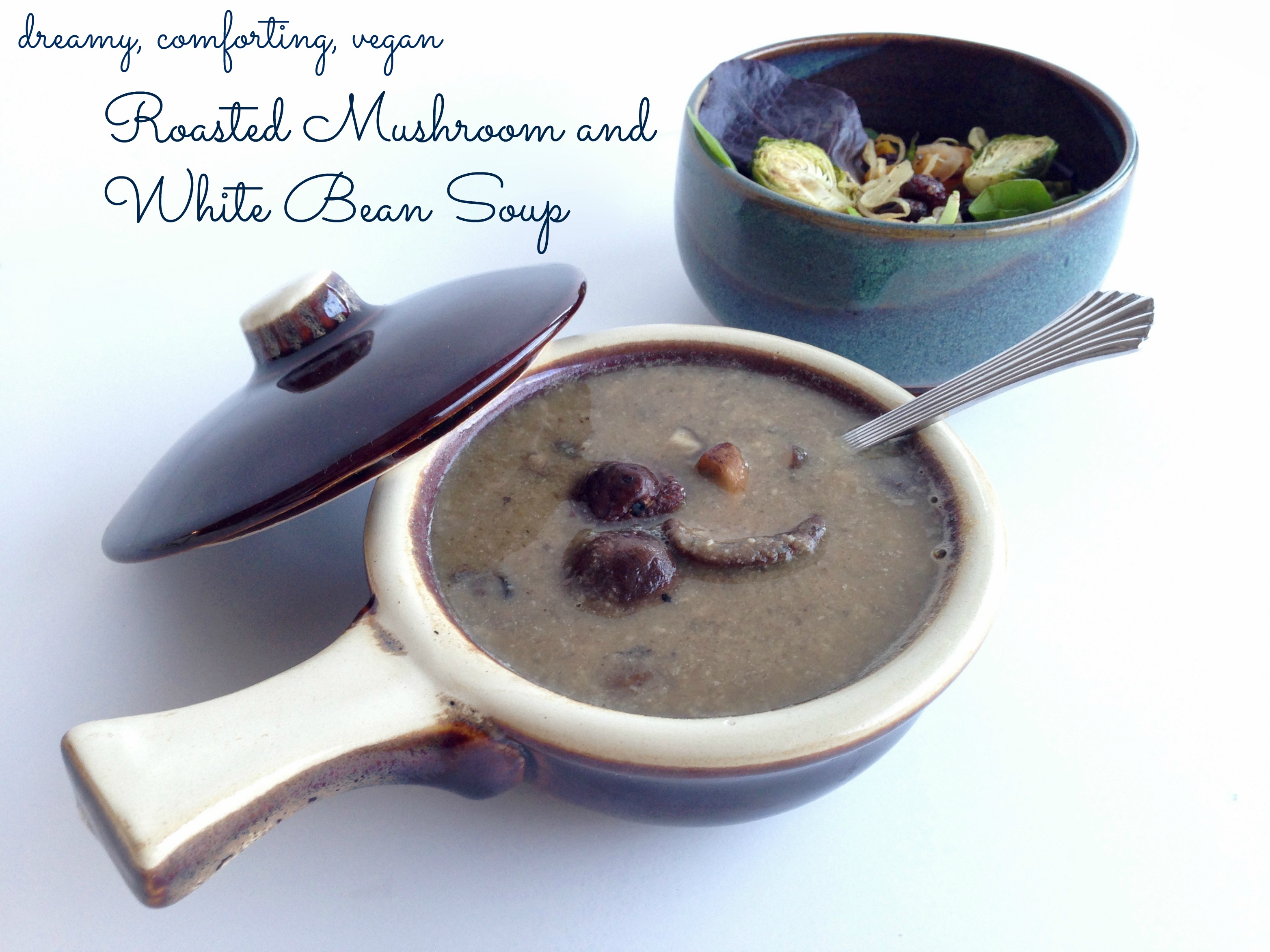 Vegan and Gluten free roasted mushroom and white bean soup with truffle oil shiitake and portobello mushrooms