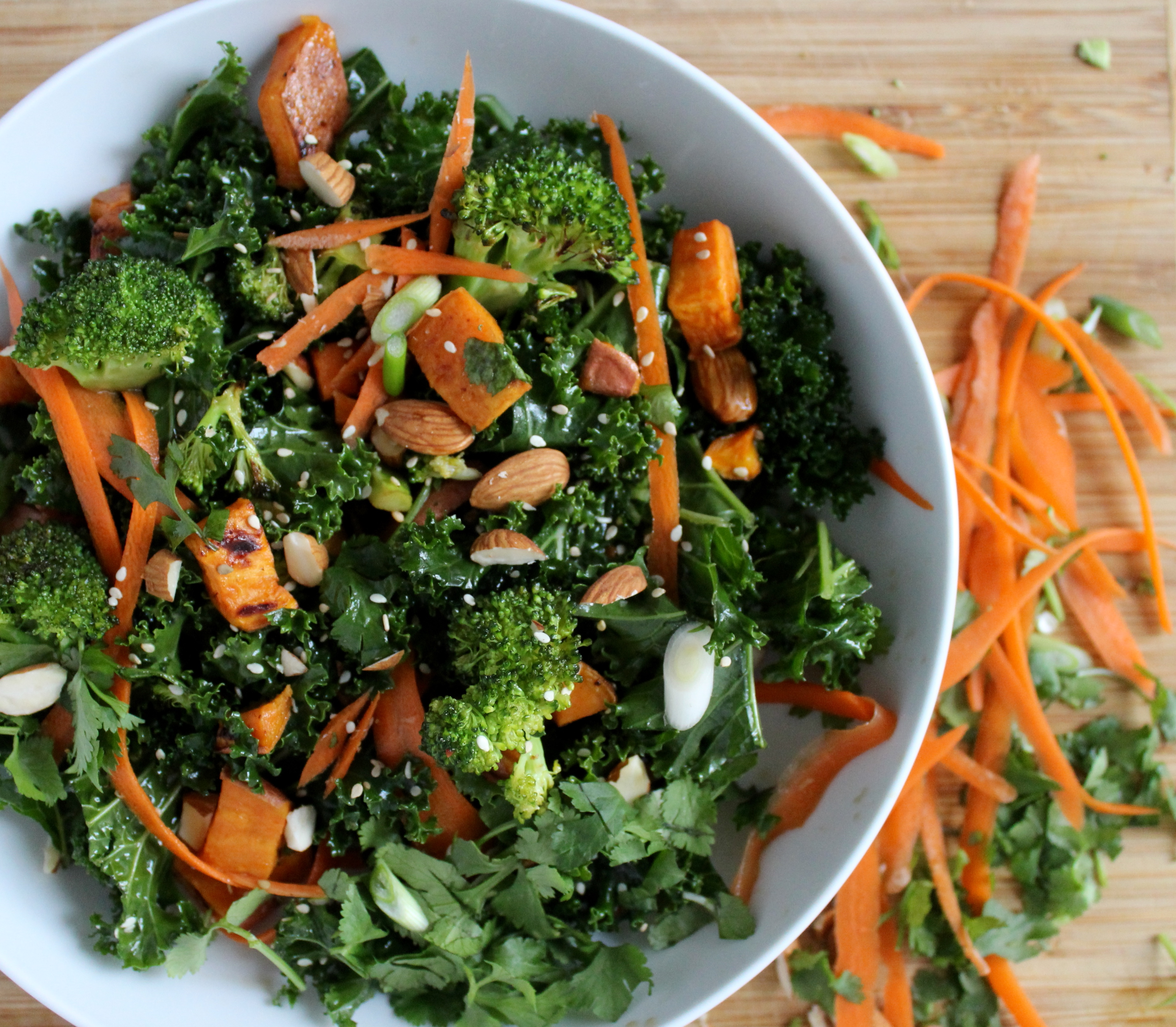 Warm Kale, Roasted Broccoli and Sweet Potato Salad with Sesame Vinaigrette