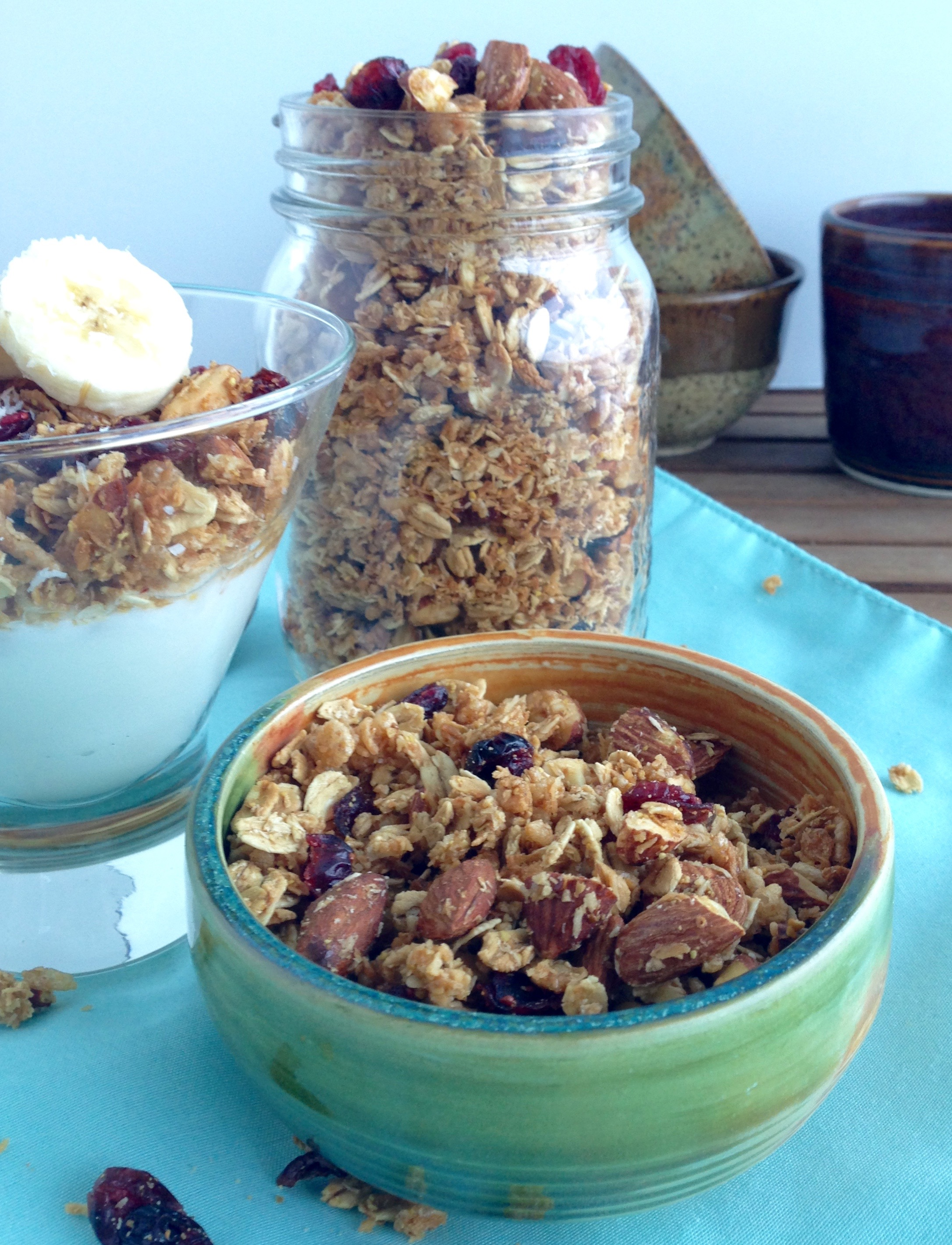 30 minute naturally sweetened coconut cranberry almond granola